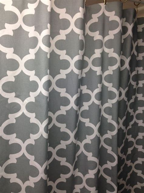 grey fabric curtains fabric shower curtain large geometric print fynn cool grey