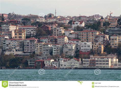 banks in istanbul houses in istanbul on banks of bosphorus strait royalty