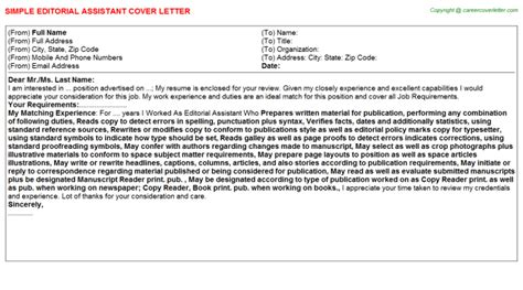 editorial assistant cover letters