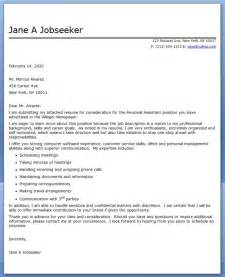 personal assistant cover letter sle resume downloads