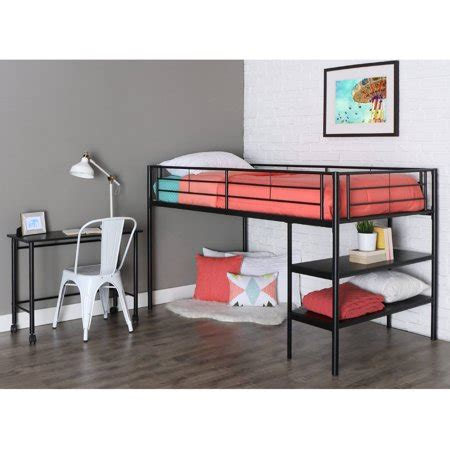 bunk bed with desk walmart metal loft bed with desk and shelving black