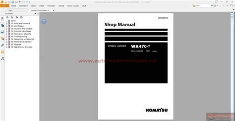 Shop Manual Komatsu Wheel Loader Wa470 7 komatsu wheel loader wa470 7 shop manual auto repair
