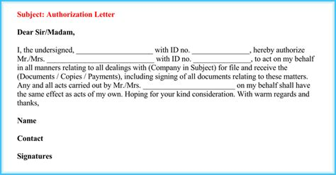 authorization letter email format authorization letter to act on behalf of someone 6 best
