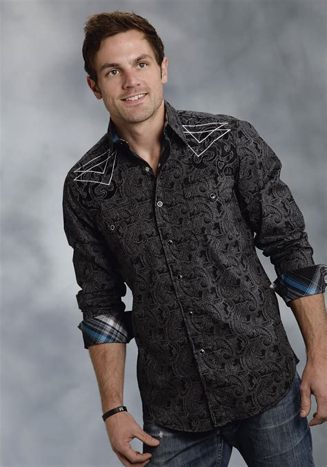 Wst 19697 Black Emrbroidered Shirt roper 174 s black paisley embroidered sleeve snap western shirt