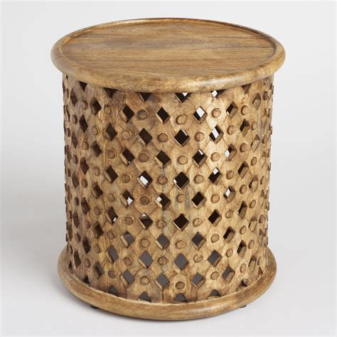 wood accent tables tribal carved wood accent table market