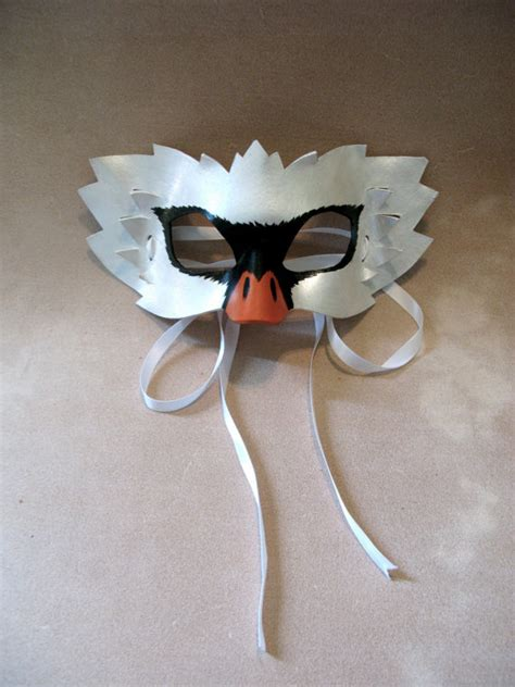 swan leather mask kids or adult sizes available masquerade