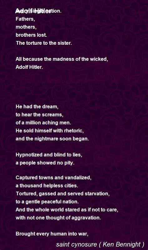 adolf hitler poem  ken bennight poem hunter