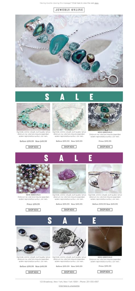 free newsletter template jewelry online