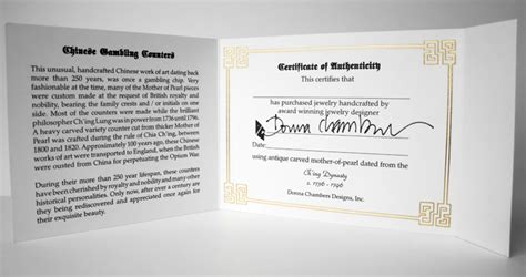 jewelry design certificate donna chambers designs certificate of authenticity