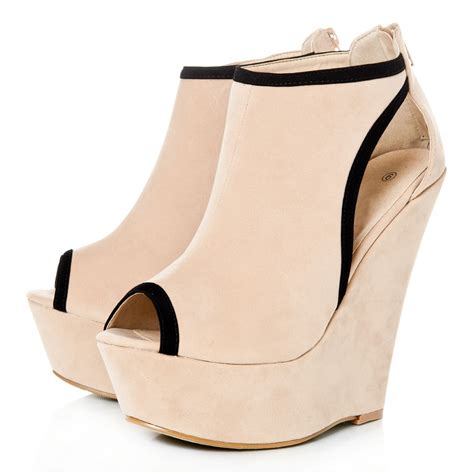platform wedges with platform peep toe and cut outs