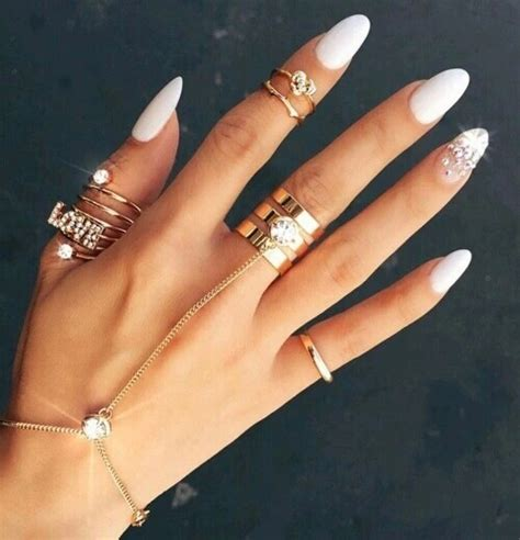 tumblr nails with white gold rings accessories gold nails tumblr white image 3707716