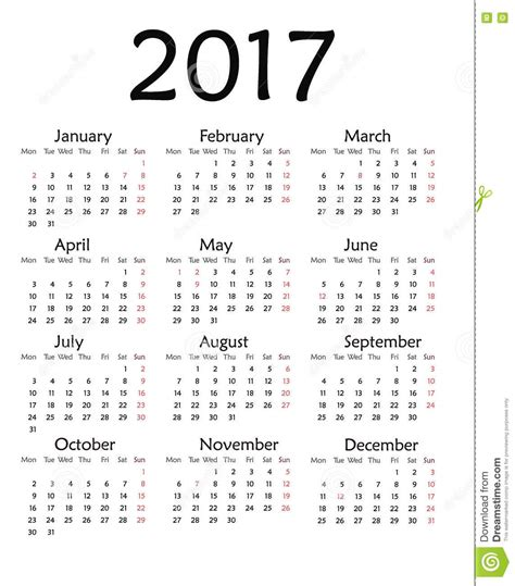 simple calendar for 2017 year stock illustration image