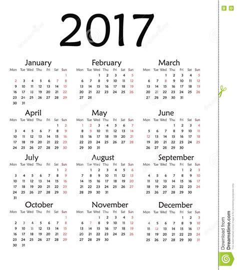 Simple Calendar Simple Calendar For 2017 Year Stock Illustration Image