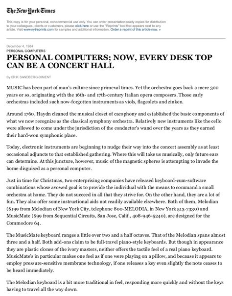 the new york times can personal computers now every desk top can be a concert