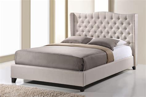 beige bed baxton studio norwich light beige linen modern platform bed king size home