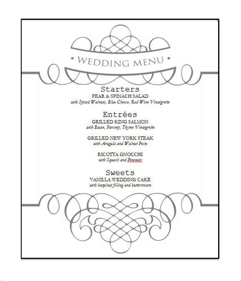 Wedding Menu Template Free Word 31 Wedding Menu Templates Sle Templates