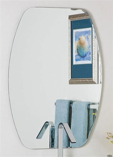 Frameless Beveled Bathroom Mirrors Frameless Oval Beveled Groove Mirror Contemporary Bathroom Mirrors By Overstock