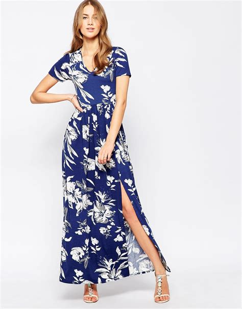 41345 Flower With Slit S M L Dress club l maxi dress with front split in large floral print