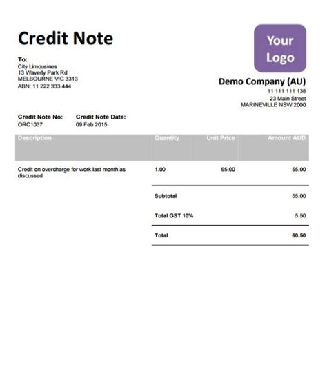 Note De Credit Template P009 X Xero Template Pack 9 Templates