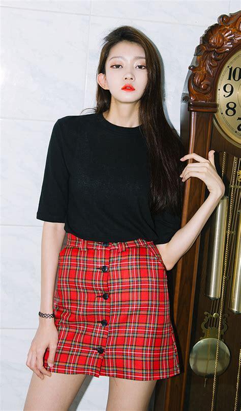 Buttoned Plaid Skirt mixxmix plaid buttoned front mini skirt kstylick