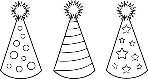 coloring page party hat childrens party hats for coloring in free clip art