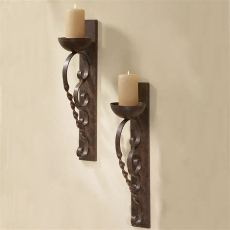 Pillar Candle Wall Sconce Twisted Pillar Wall Sconces Set Of 2 Mediterranean