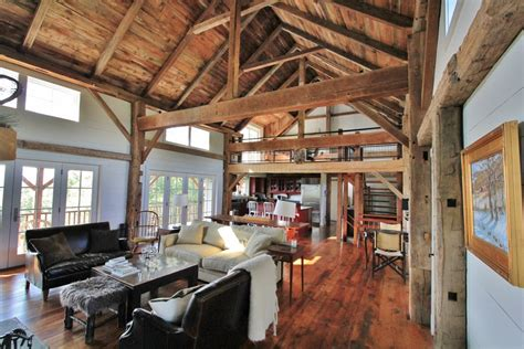 Log Cabin Open Floor Plans by Green Mountain Timber Frames Vermont Barn Homes Interior