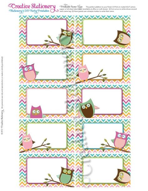 printable girly name tags owl baby shower name tags pink orange green by