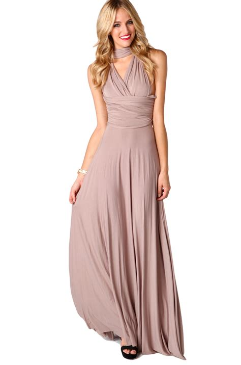 Maxi Mocca black label multi function jersey maxi dress in mocha in gray lyst