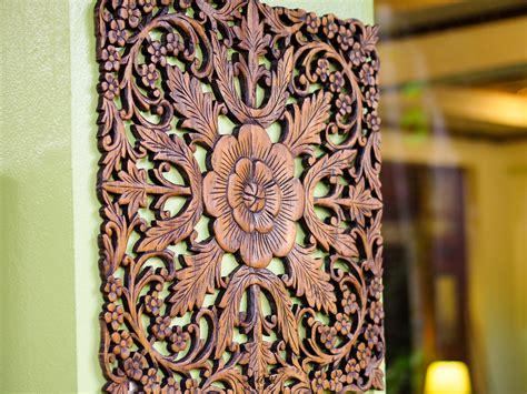 buy thai lotus wood carving wall hanging