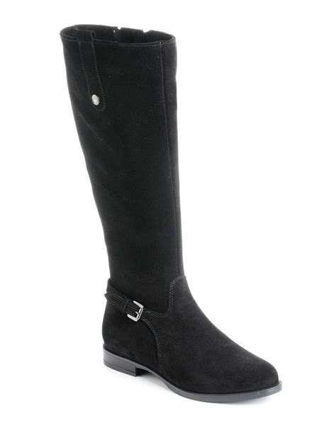 canadienne boots la canadienne lori suede boots in black lyst