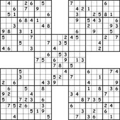 printable triple sudoku samurai sudoku3 sudoku pinterest