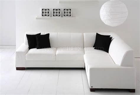 white modern sectional sofa white bonded leather modern sectional sofa w wood legs