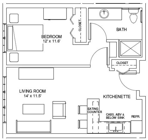 One Bedroom Apartment Floor Plan 1 Bedroom Efficiency House Floor Plans 1 Bedroom