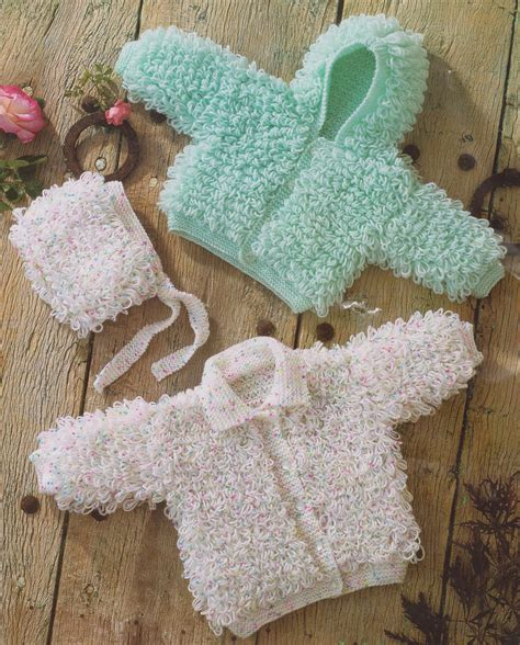 baby knitted hooded jacket free patterns loopy hooded jacket collared cardy baby bonnet knitting