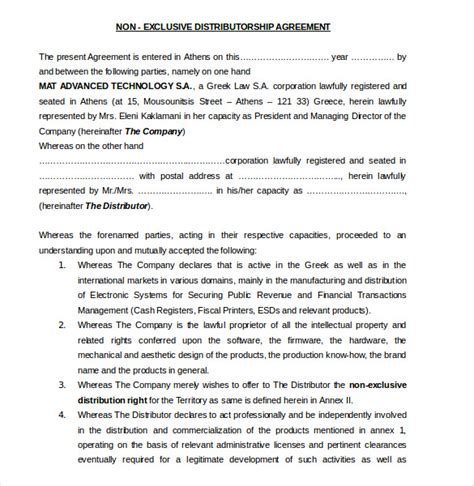 Distribution Agreement Template distribution agreement template 11 free word pdf