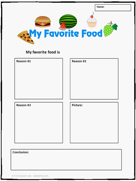 food templates common opinion writing template my favorite food