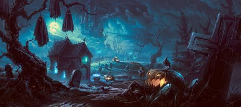 artwork fantasy art halloween pumpkin forest