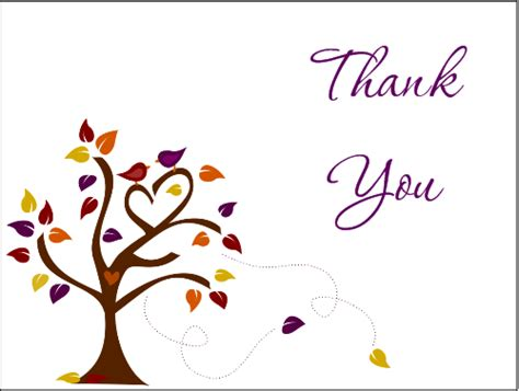 Thank You Card Template With Tree by Thank You Notes Weneedfun