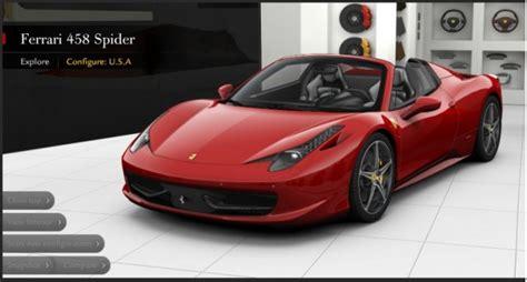Ferrari Configurator 458 ferrari 458 spider configurator builds your perfect roadster
