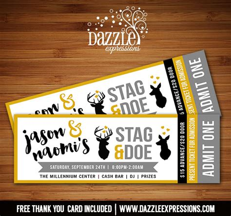 printable stag and doe ticket invitation wedding