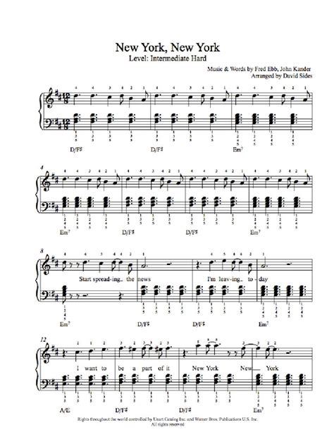 new year song for violin new york new york by frank sinatra piano sheet