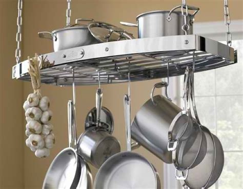 materialology 187 beautiful all clad oval hanging pot rack