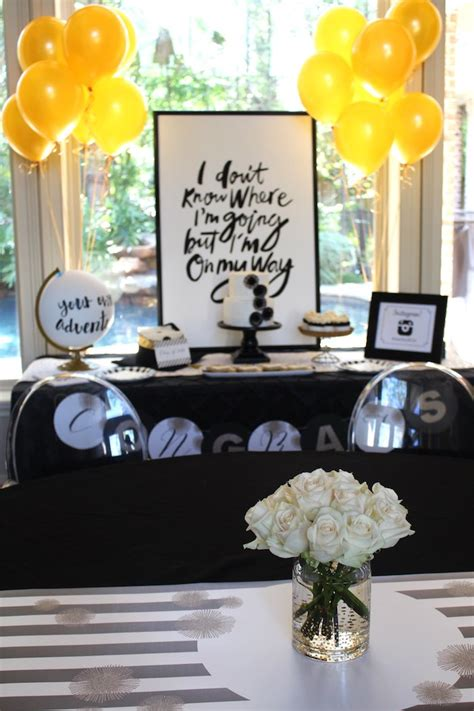 Clear Glass Vases Kara S Party Ideas Black White Gold Graduation Party