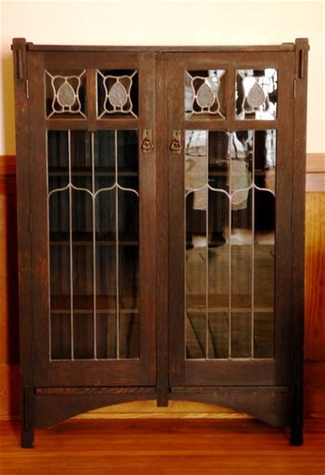 Mission Style Bookcase With Glass Doors Leaded Glass Bookcase 2 Door Stickley Bros Book Shelf Furniture Pinterest Leaded Glass