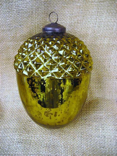 antique mercury glass ornament acorn chartreuse green
