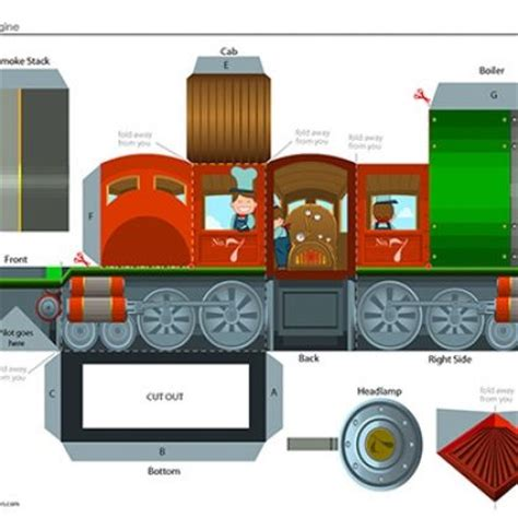 Craftowntoys Railroad Track Toys Papercraft build your own steam engine printable paper crafts