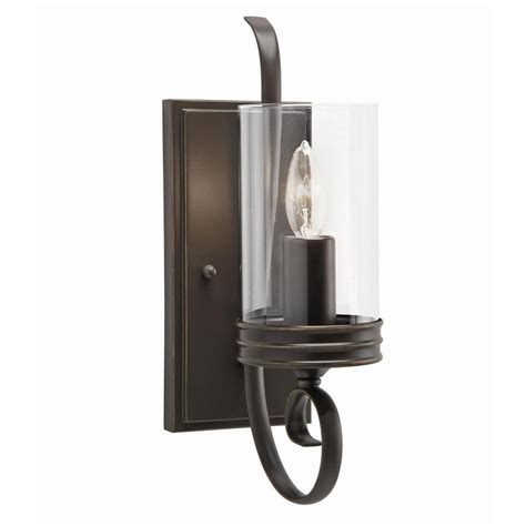 Sconce Lighting For Bathroom Shop Kichler Diana 4 72 In W 1 Light Olde Bronze Arm Wall Sconce At Lowes