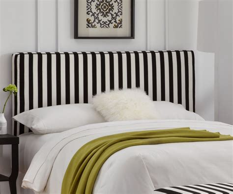 Skyline Furniture Canopy Stripe Upholstered Headboard With Black And White Striped Headboard