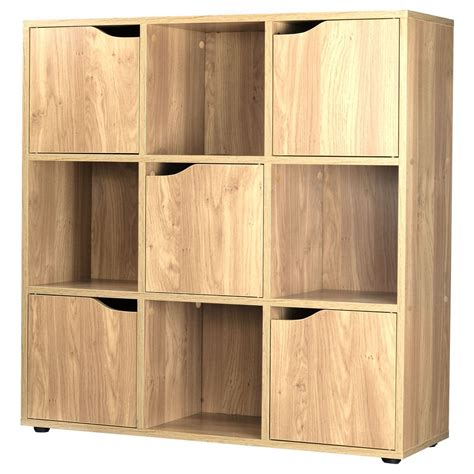 oak 9 cube 5 door wooden storage unit display shelving